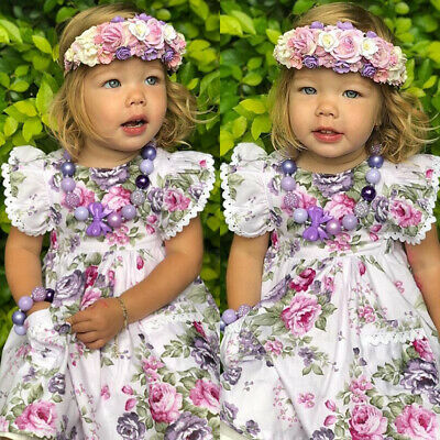 AU Toddler Kid Baby Girl Summer Dress Bow Lace Floral Party Dress Casual Clothes