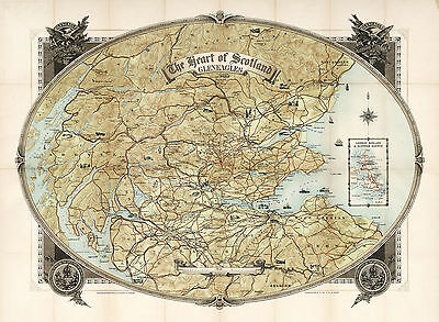 1930 Pictorial Map Heart of Scotland Gleneagles Wall Art Poster Scottish History