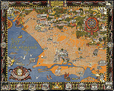 Art Deco Map Berkeley Oakland Alameda California Wall Art Poster Vintage History