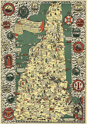 1926 Pictorial Map New Hampshire Vintage History Wall Art Poster Print Decor