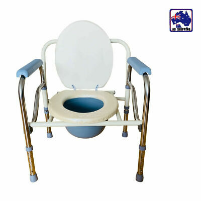 Commode Chair, Comfort Grips, Fold-able, Toilet Seat Height Adjustable HTC030650