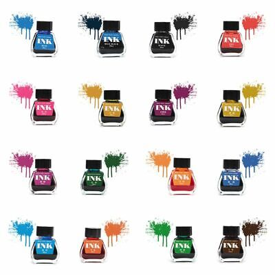 30ml Bottled Glass Smooth Writing Fountain Pen Ink Refill School Office 16 Color