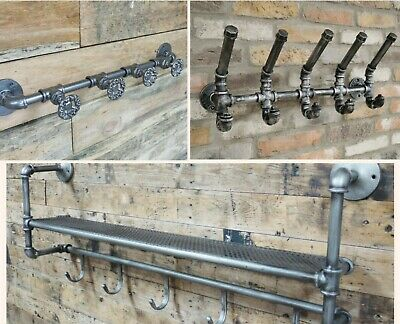 Industrial Style Metal Coat Hooks - Pipe and Valve Design