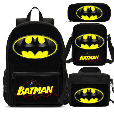 Batman Superhero School Backpacks Insulated Lunch Box Shoulder Bag Pen Case Lot