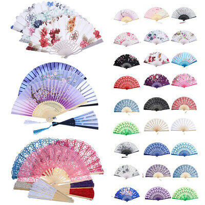 Spanish Style Floral LACE FAN Silk Folding Hand Held Flower Dance Party Wedding