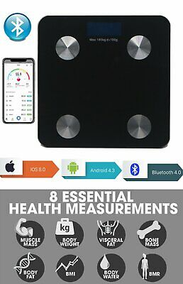 8 In 1 180Kg Bathroom Bluetooth Glass Scales Bmi Body Fat Monitor Weighing Black