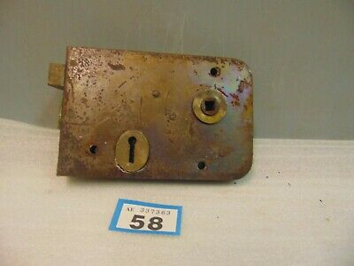 Antique  Brass And Steel Rim Door Lock  58