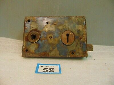 Antique  Brass And Steel Rim Door Lock  59