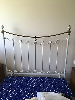 Brass and Cream metal bed head double bed  vintage classic style Collection only