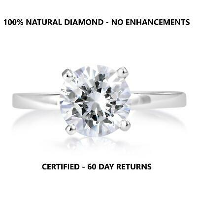 1 Carat D Si1 Natural Clarity Diamond Solitaire Engagement Ring 18K White Gold