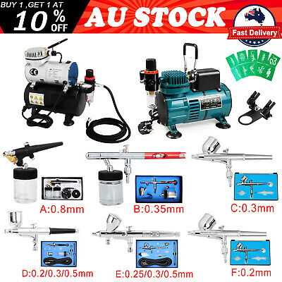 Voilamart Airbrush Kit Spray Gun Dual Action Air Brush Compressor Paint Art Tool