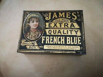 Antique metal tin for French Blue