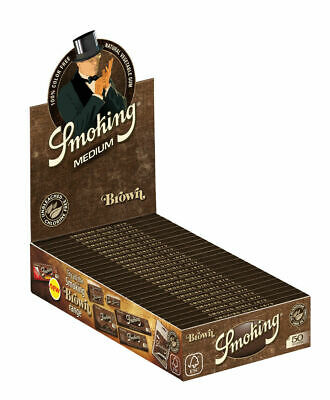 1 Box (25 Booklets) Smoking Brown 1 1/4 Medium Size Cigarette Papers Rolling