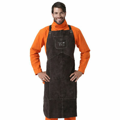AP-610091 58cm Cowhide Leather Welding Protective Blacksmith Work Apron Brown