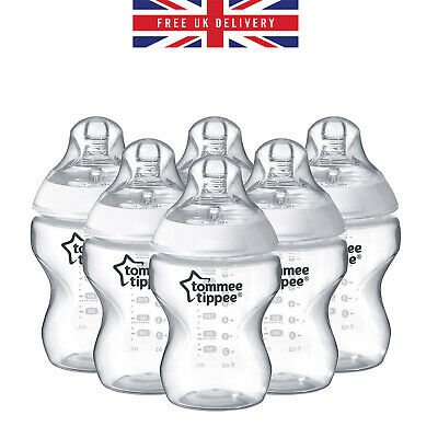 6 PACK Tommee Tippee Closer to Nature Clear Bottle Baby Feeding Bottles 260 ml