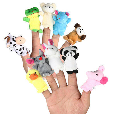 10x Cartoon Family Finger Puppets Cloth Doll Baby Educational Hand Animal TBIVG