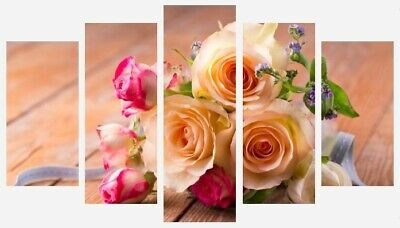 Colourful Roses - Flowers Floral Neutral Wall Art 5 Split Panel Canvas Pictures