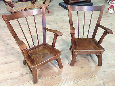 Pair of Chairs English Chairs Plain Wood Living Room Seater Antique Style 900 Xx