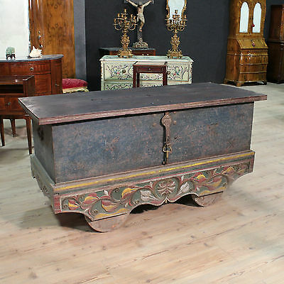 Trunk Chest Indian Bench in Carved Wood Painted Antique Style 900 Xx