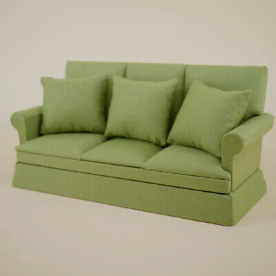 1:12 Miniature Couch Sofa with Pillows Set Model Green Dollhouse Furniture