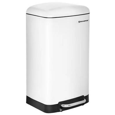Songmics Kitchen 30 Litre Step On White Rubbish Bin 61cm H x 34cm W x 27cm D