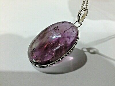 Vintage Large Sterling Silver & Amethyst Crystal Cabochon Pendant  925 Necklace