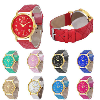 Fashion Dress Watch Women Ladies  Stainless Steel Leather Casual Wrist Watch WO
