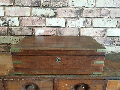 Antique Wooden Engineers Box Chest With Brass Fittings
