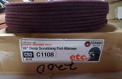 "ETC. REDWOOD Maroon 16"" Non Woven Floor Pads, Thin Line, Very Fine 10 ea US MADE"