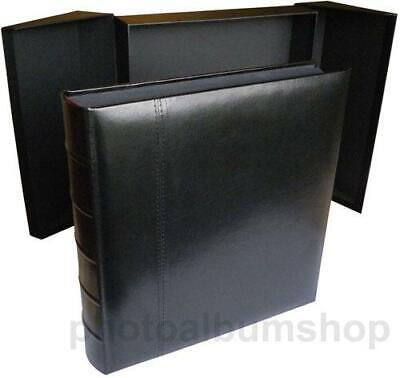 Glorious Leather large black photo album with presentation box, 100 black pages