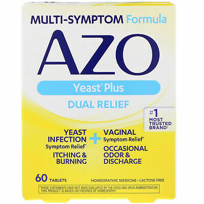 ❤ AZO Yeast Plus Yeast Infection Vaginal Relief Itching Burning Etc 60 x Tabs ❤