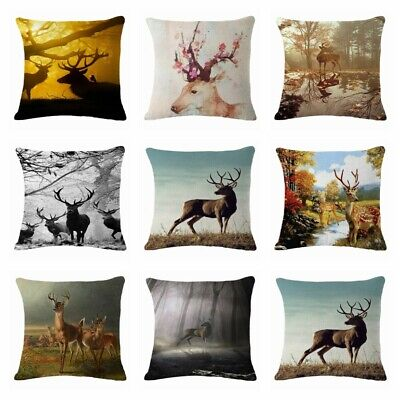 Sika deer Linen Cotton Fashion Throw Pillow Case Cushion Cover Home Decor