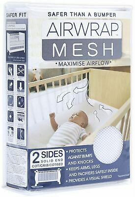 Airwrap MESH 2 SIDED COT PROTECTOR - WHITE Baby Cotbed Protection Safety BN