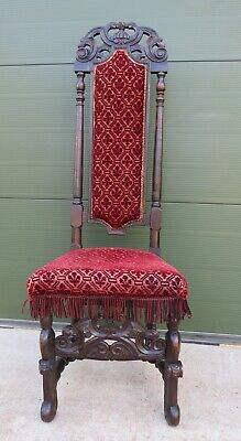 Antique C18th Carved Walnut High-Back Upholstered Hall Chair
