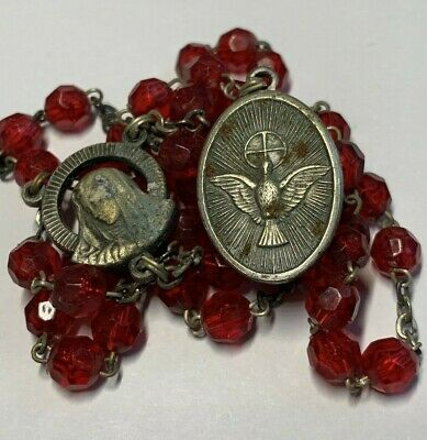 "† Unique Vintage ""Holy Ghost"" Dove Red Faceted Lucite Chaplet Rosary 13 3/4 †"