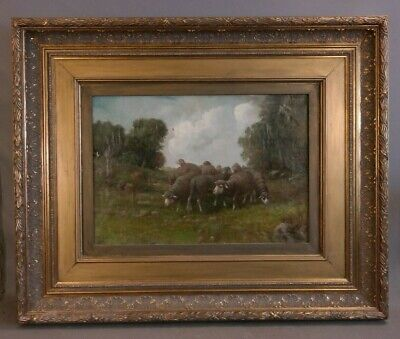 Antique EDWARDIAN Era PRIMITIVE Old COUNTRY SHEEP Pastoral LANDSCAPE PAINTING