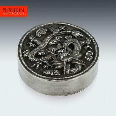 ANTIQUE 20thC CHINESE EXPORT SOLID SILVER DRAGON BOX c.1890