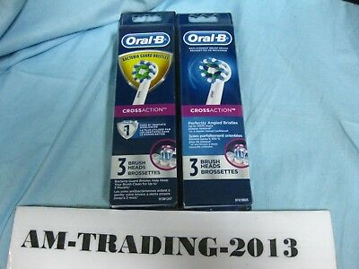 6 Pack (2x3) of Oral B CROSS ACTION Braun Replacement Toothbrush Heads (White)