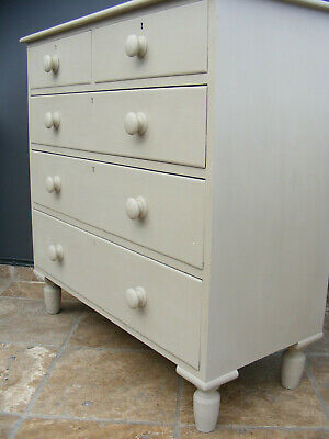 Antique French style shabby chic painted solid pine chest of drawers
