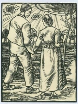 Schiestl: Young Pair Woodcut 1927
