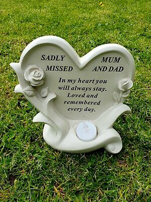 Mum And Dad Grave Ornament Remembrance Memorial Tribute Rose Plaque