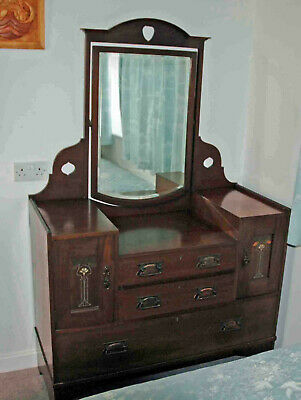 Stunning Arts & Crafts oak dressing table with mother of pearl inlay