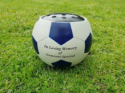 Football Grave Ornament Tribute Memorial Rose Bowl Royal Blue Someone Special