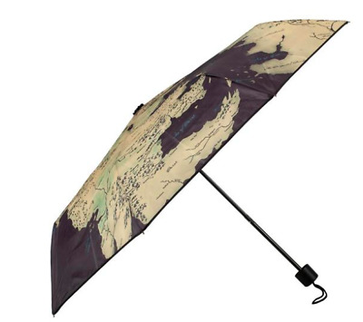 Compact Umbrella HBO's Game of Thrones Map New Black Gold Silver