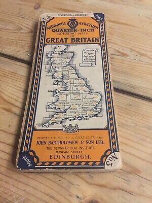 Bartholomew's Quarter Inch Map of Great Britain Inverness -Aberdeen  Pre 1935