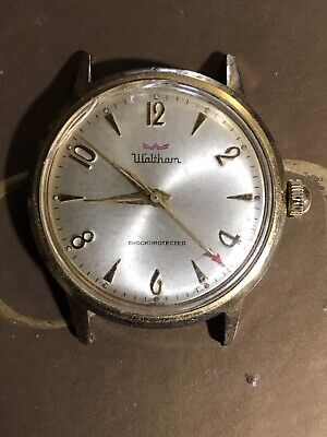 Vintage Mens Waltham Shockprotected Stainless Gold Watch Working