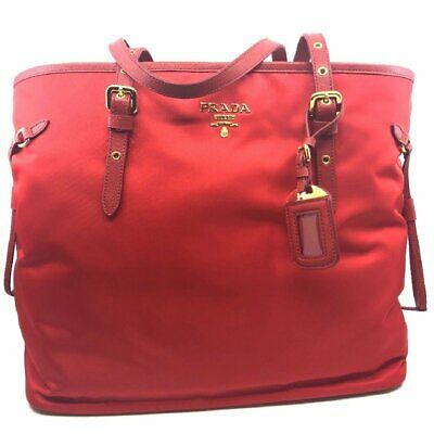 93466a9809a7 PRADA CLASSIC RED Tessuto Nylon/Saffiano Leather Trim Large Tote Bag ...