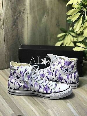 Sneakers Men Converse Chuck Taylor All Star High Top Purple Camo Canvas 163739F