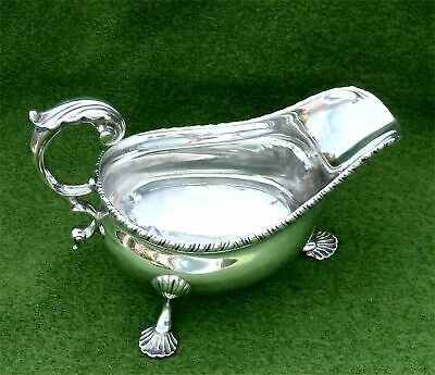 WEIGHTY VICTORIAN STERLING SILVER GRAVY / SAUCE BOAT -LONDON 1893 - 5.67 ozt A/F