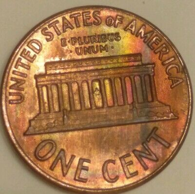 1969d Lincoln Cent - ! - Monster Rainbow Toned. Us coin copper. Uncirculated